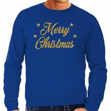 Kersttrui merry christmas gouden glitter letters blauw heren