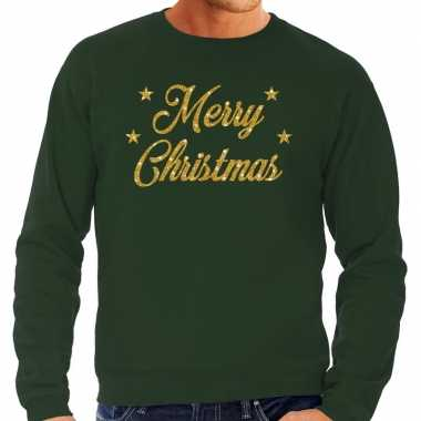 Kersttrui merry christmas gouden glitter letters groen heren