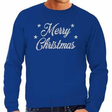 Kersttrui merry christmas zilveren glitter letters blauw heren