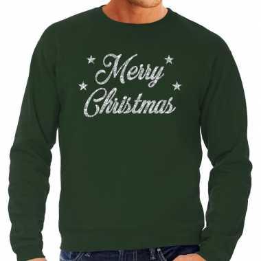 Kersttrui merry christmas zilveren glitter letters groen heren