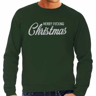 Kersttrui merry fucking christmas zilver glitter groen heren