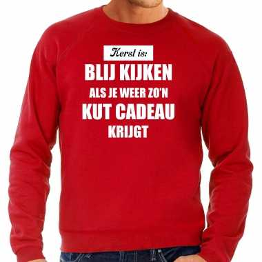 Rode foute kersttrui / sweater kerst is blij kijken / kut cadeau outfit heren