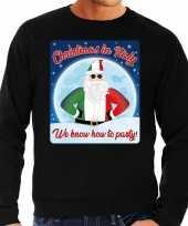 Foute italie kersttrui christmas in italy zwart voor heren