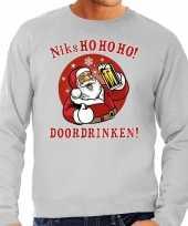 Foute kersttrui bier drinkende kerstman grijs voor heren