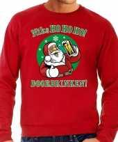 Foute kersttrui bier drinkende kerstman rood voor heren