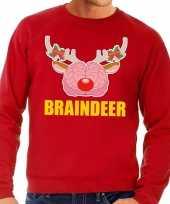 Foute kersttrui braindeer rood voor heren