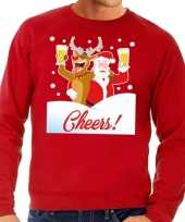 Foute kersttrui cheers met dronken kerstman rood heren