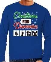 Foute kersttrui christmas for dummies blauw voor heren
