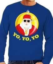 Foute kersttrui hip hop rapper kerstman blauw voor heren