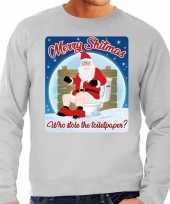 Foute kersttrui merry shitmas grijs voor heren 10172408