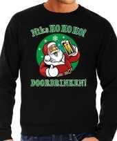 Foute kersttrui niks ho ho ho doordrinken bier zwart voor heren