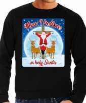 Foute kersttrui now i believe in holy santa zwart voor heren