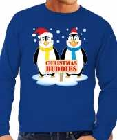 Foute kersttrui pinguin vriendjes blauw heren