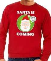 Foute kersttrui santa is coming rood voor heren