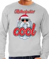 Foute kersttrui stoere kerstman motherfucking cool grijs heren