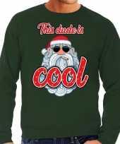 Foute kersttrui stoere kerstman this dude is cool groen heren