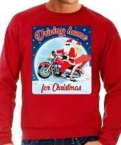 Foute kersttrui voor motorliefhebbers driving home rood heren