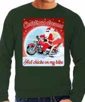 Foute kersttrui voor motorliefhebbers hot chicks groen heren