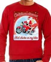 Foute kersttrui voor motorliefhebbers hot chicks rood heren