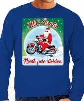 Foute kersttrui voor motorliefhebbers mc santa blauw voor heren