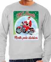 Foute kersttrui voor motorliefhebbers mc santa grijs voor heren