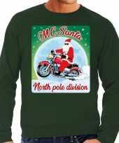 Foute kersttrui voor motorliefhebbers mc santa groen voor heren