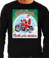 Foute kersttrui voor motorliefhebbers mc santa zwart voor heren