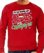 Foute kersttrui why santa has a naughty list rood voor heren
