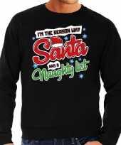 Foute kersttrui why santa has a naughty list zwart voor heren