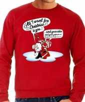 Foute kersttrui zingende kerstman met gitaar rood voor heren