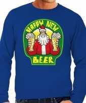 Foute nieuwjaar kersttrui happy new beer bier blauw heren