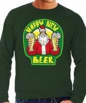Foute nieuwjaar kersttrui happy new beer bier groen heren