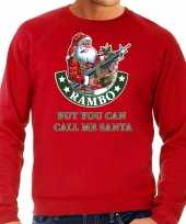 Grote maten foute kersttrui outfit rambo but you can call me santa rood voor heren
