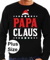 Grote maten foute kersttrui papa claus zwart voor heren