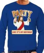 Grote maten foute kersttrui party jezus blauw voor heren