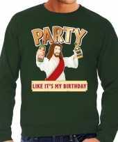 Grote maten foute kersttrui party jezus groen voor heren