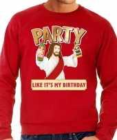 Grote maten foute kersttrui party jezus rood voor heren