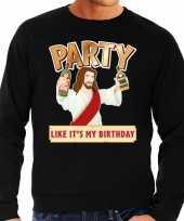 Grote maten foute kersttrui party jezus zwart voor heren