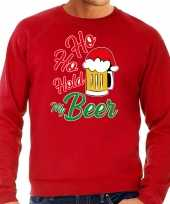Grote maten ho ho hold my beer fout kersttrui outfit rood voor heren