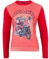 Rode kersttrui santa biker heren
